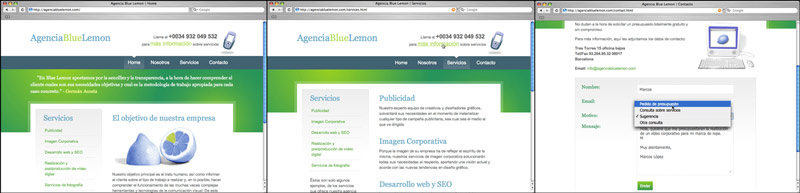 Agencia Blue Lemon website / screenshots